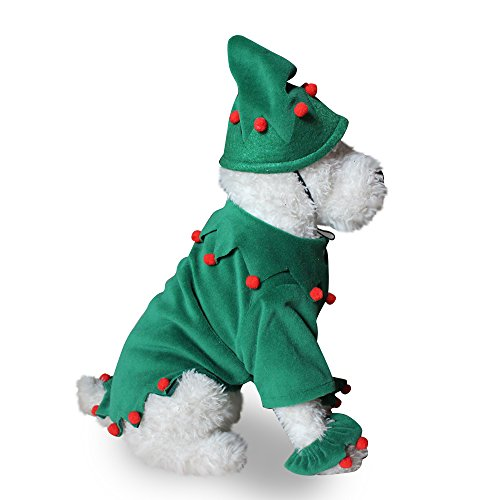 NACOCO Dog Costume with Hat Santa Christma Xmas Elf Green Pet Costume Outfit Leg Cuff Set for Small Medium Dogs (M)