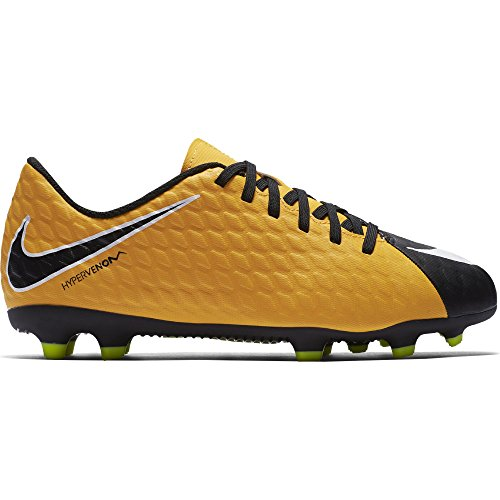 Nike Kids Jr. Hypervenom Phade III (FG) Firm Ground Soccer Cleat Laser Orange/Black/White/Volt Size 3.5 M US