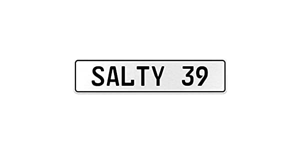 Vintage Parts 556715 Salty 39 White Stamped Aluminum European License Plate