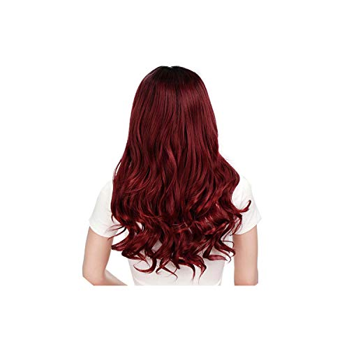 Synthetic Long Wavy Gray Wig for Woman Cosplay Wig Brown Red Black Blonde Heat Resistant Fiber,R2-118-39A,26inches