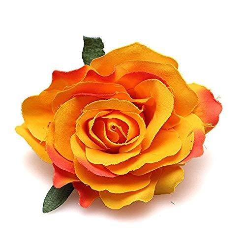Rose Flower Hair Clips Flower Brooch Pin Hairpin for Women NFJ03 (Orange) ()