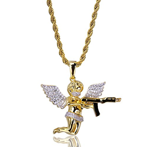 TOPGRILLZ 14K CZ Angel Pendant Necklace with Gun Pistol Rope Chain (Gold)