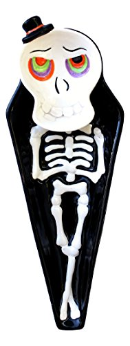 Halloween 2 Piece Ceramic Snack Set with Skeleton Plate and Matching Skull Dish