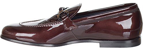 Salvatore-Ferragamo-Mens-Brown-Glossy-Leather-Gancini-Roman-Tuxedo-Loafers-Shoes