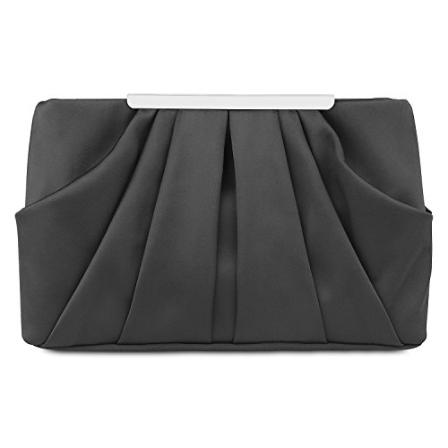 Black Satin Clutch (Womens Pleated Satin Evening Handbag Clutch With Detachable Chain Strap Wedding Cocktail Party Bag)