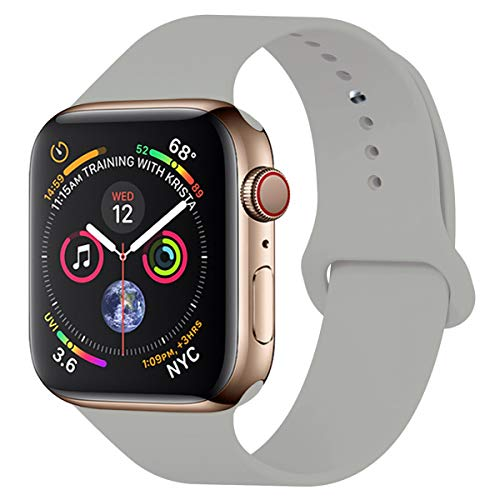 YC YANCH Compatible with for Apple Watch Band 38mm 40mm, Soft Silicone Sport Band Replacement Wrist Strap Compatible with for iWatch Series 5/4/3/2/1, Nike+, Sport, Edition, S/M, Pebble (Pebble Silicon Watch Band)