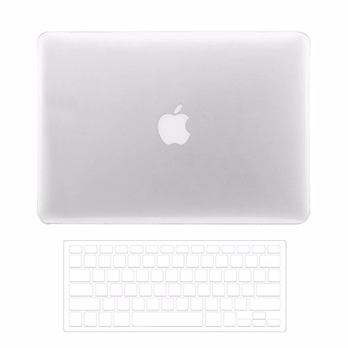 TOP CASE - 2 in 1 Bundle Crystal Clear See Thru Hard Case Cover and Transparent TPU Keyboard Cover Compatible with Apple MacBook Pro 15