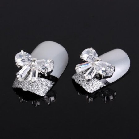 Yesurprise 5Pcs 3D Alloy Clear Cubic Zirconia Bow Tie Nail Art Glitters Slices Diy by CoCo-Shop