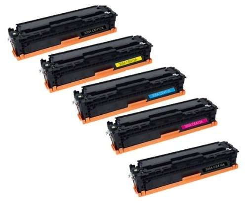 TopTech Compatible Toner Cartridges HP CE305A ( CE410A, CE411A, CE412A, CE413A ) Replacement for LaserJet Pro 400 color MFP M475dn, MFP M475dw, M451dn, M451nw, M451dw, Pro 300 color MFP M375nw Printers- (5 Pack)