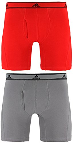 adidas Men's Relaxed Performance Stretch Cotton Boxer Briefs Underwear (2-Pack), Scarlet/Light Onyx, Large