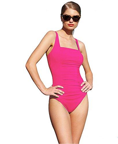 Calvin Klein Ruched-Panel One-Piece Swimsuit Rose (8) Calvin Klein Womens Swimwear