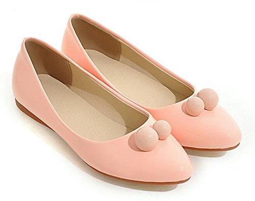 Showhow Moda Para Mujer Ballet Flats Sólido Con Cuentas Puntiagudas Low Top Slip On Mocasines Zapatos Rosa