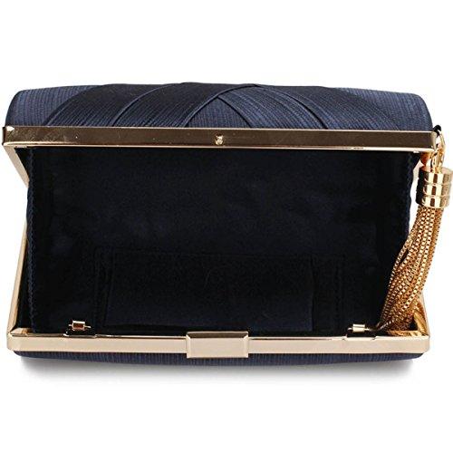 Xardi London clutch rigida da donna, compatta, in raso, misura media, adatta per spose, balli, serate. Navy Style 2
