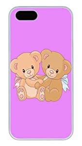 iPhone 5S Cases and Covers,Cute Teddy Bear Custom Slim Hard Case Snap-on PC Plastic Case Cover Shell for Apple iPhone 5S/5 White