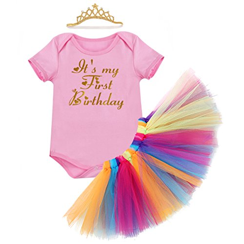 Little Girl 1st Birthday 3PCS Outfit Skirt Tutu Onesie Headband Romper Cake Smash Crown Princess Costume Christmas Dress #2 Pink 12-18 Months