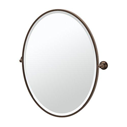 Gatco 4349FLG Tiara Framed Large Oval Mirror, Bronze (Pivot Brass Polished)