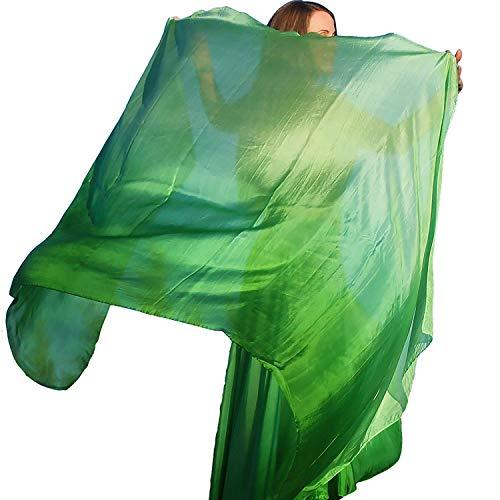 Nahari Silks Womens Silk Circle Belly Dance Skirt & Dance Scarf Veil Light Green Blend]()