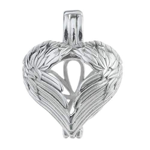 Interchangeable Pearl - Rhodium On 925 Sterling Silver Guardian Angel Wing Heart Interchangeable Pearl Cage Bead Holder Pendant