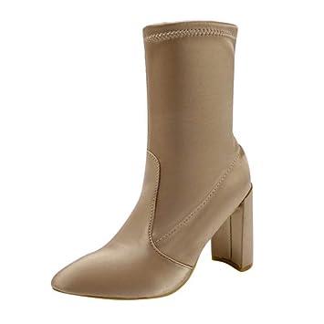Logobeing Zapatos Mujer Tacones Botines Mujer Tacon Botas de Mujer Casual Plataforma Ante Botas de Cordones Calientes Altas Boots-00933(38,Marrón): ...