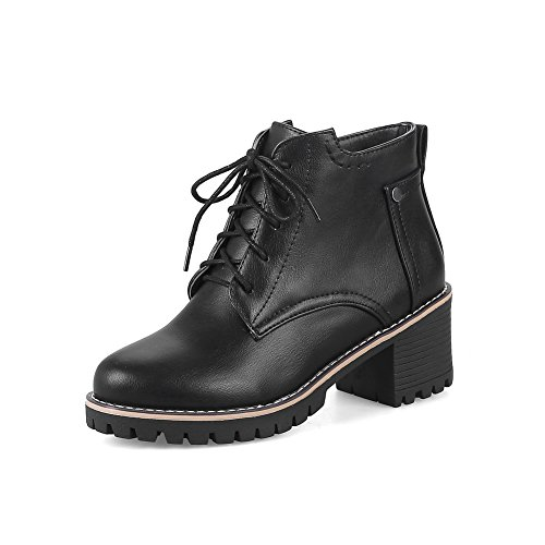 Warm Cushioning Heel Lining Closed Leather Black amp;N Toe Womens Lace Bootie Smooth Strap Kitten Up Adjustable Boots A Waterproof DKU01810 Urethane Boots AN qPFTw7P
