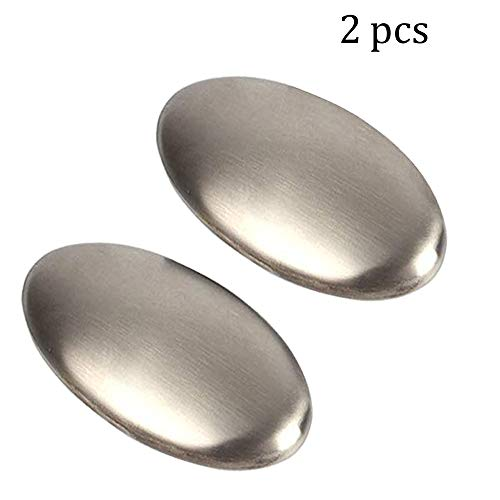 Stainless Steel Soap, Odor Remover Hand Bar Kitchen Eliminating Smells Like Onion, Garlic, Fish, and Other Strong Scents Ueasy Magic 2 Pack