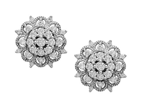 14k White Gold 0.50 Cttw Diamond Stud Earrings ()