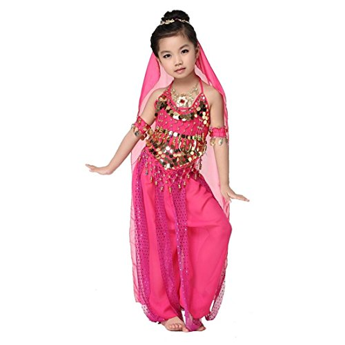 Harems Jewel Belly Dancer Costumes (Kid's Girls Oriental Belly Dance Sets Costumes All Accessories for Halloween Christmas , B)