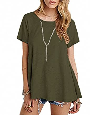 Afibi Women's Basic Short Sleeve Scoop Neck Swing Tunic Loose T-Shirt (X-Small, Army Green)