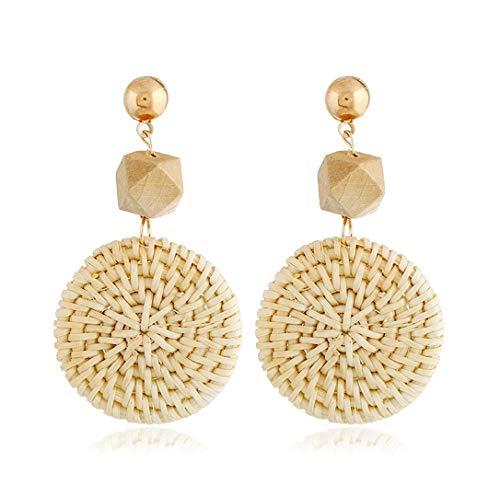 KITTENSOLA Rattan Drop Earrings Handmade for Women Trendy Braid Drop Dangle Earring Fashion Jewelry Lightweight Statement Earrings (Style D)