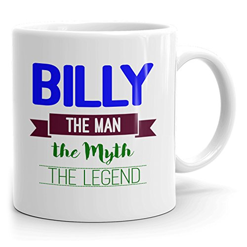 Mug that says Billy - The Man The Myth The Legend - Best Gifts for men - 11oz White Mug - Blue 2