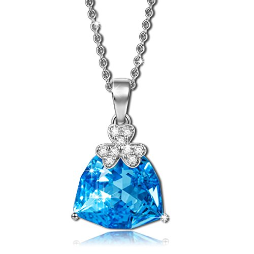 [NinaQueen Lucky Light 925 Sterling Silver Blue Crystal Clover Pendant Necklace] (Tiffany Blue Costume Jewelry)