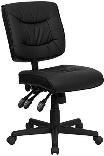 Mid-Back Black Leather Multi-Functional Task Chair No Arms by Flash Furniture