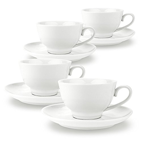 Rachel's choice 6 Ounce China Porcelain Tea Cup and Saucer Set Coffee Cup Set with Saucer White Magnolia sets of 4 (Porcelain Magnolia)