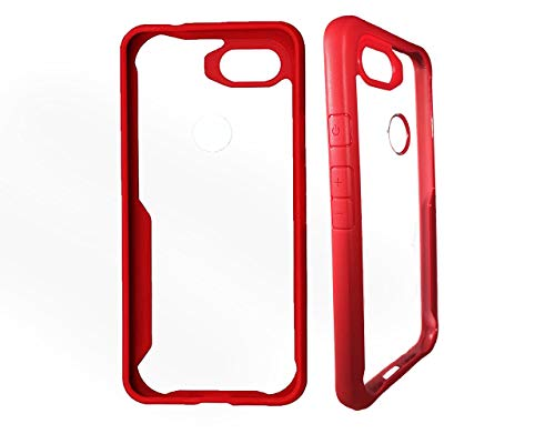 Jakobe Collexion Slim Google Pixel 3a Case: Clear Back with Fashionable Stand Out Color Side Trim for Drop Protection (Red)