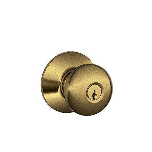 - Schlage F51A PLY 609 Plymouth Knob Keyed Entry Lock, Antique Brass