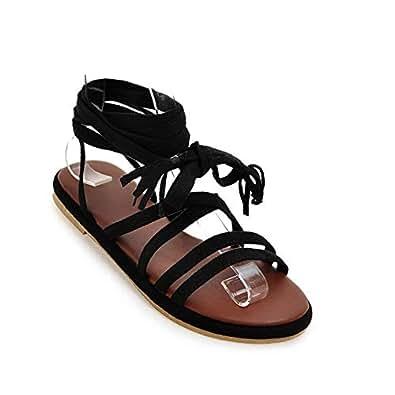 BalaMasa Womens ASL06836 Comfort Frayed-Seams Soft-Toe Black Pu Fashion Sandals - 2 UK (Lable:33)