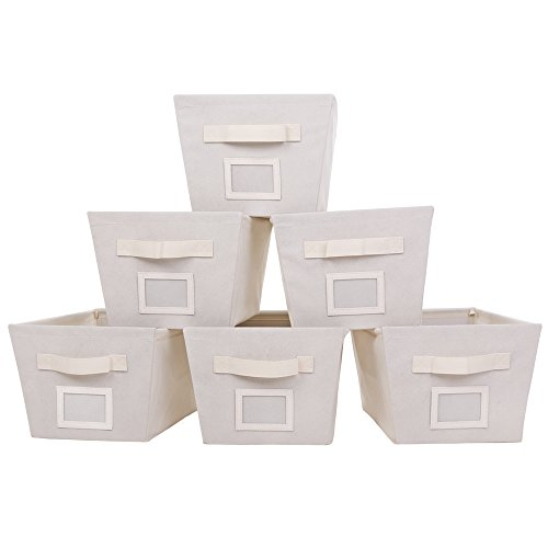 MustQ Storage Cubes Bins Baskets Containers with Dual Handles,Flodable,Set of 6 (Beige)