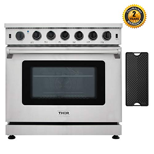 Thor Kitchen 36'' Gas Range with 6.0 cu.ft Convection Oven in Stainless Steel, 6 Burners, Double Burner Reversible Griddle, LRG3601U