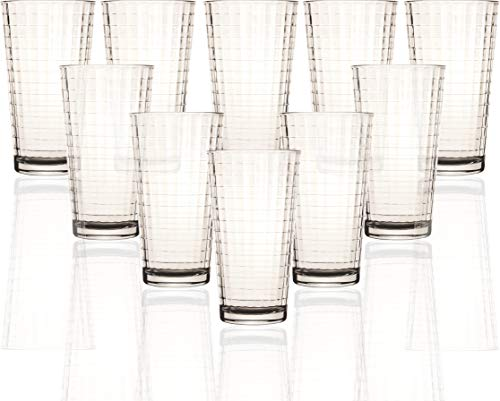 Circleware 44112 Windowpane Huge Set of 10 Tall Heavy Base Highball Glasses, 15.75 oz. Glassware Tumbler Drink Cups for Water, Juice, Beer Beverages, ()
