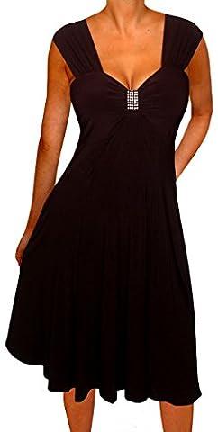 Funfash Plus Size Women Empire Waist A Line Black Midi Dress Made USA 1x XL 16 - Sexy Black Slinky