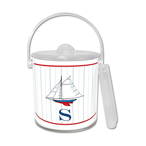 Chatsworth Sailboat Ice Bucket with Single Initial, J, Multicolored (Monogram Ice Bucket)