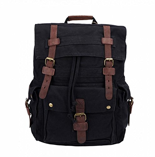 Retro Canvas Leather Casual Travel Hiking Daypack