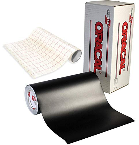ORACAL Matte Black Adhesive Craft Vinyl for Cameo, Cricut & Silhouette Including Free Roll of VViViD Clear Transfer Paper (6ft x ()