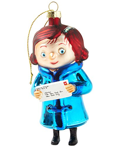 Macy's Yes Virginia 2014 Blue Glass Christmas Ornament, Virginia Holding a Letter