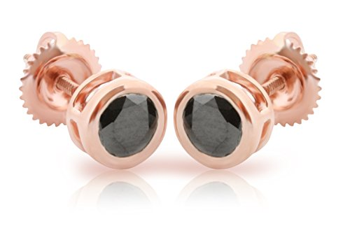 1.00Ct Round Bezel Set Black Diamond Stud Earring With Screw Back, Rose Gold Plated Silver by Prism Jewel