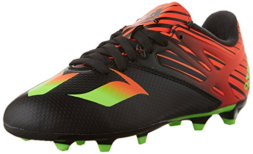adidas Performance Messi 15.3 J Soccer Cleat (Little Kid/Big Kid), Black/Green/Solar Red, 4.5 M US Big Kid
