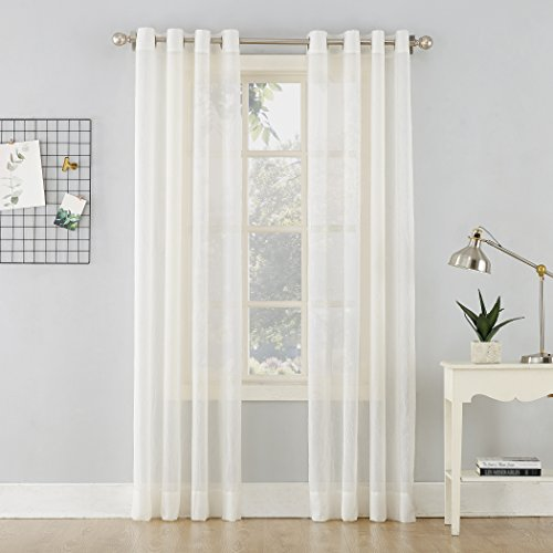 - No. 918 Erica Crushed Sheer Voile Grommet Curtain Panel, 51