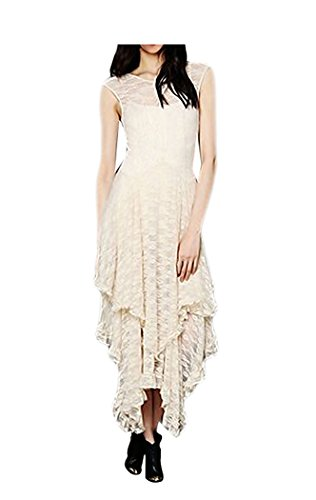 CA Fashion Womens Sleeveless Floral Lace Tiered Long Irregular Party Dress, Beige, Medium -