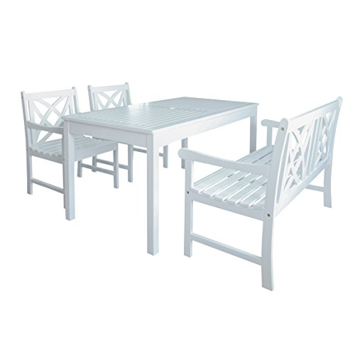 Vifah Airlie Outdoor 4-Piece Wood Patio Dining Set with 4-Foot Bench in White