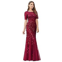 Ever-Pretty Women't Elagant Short Sleeve Long Mermaid Sequin Tulle Prom Evening Dresses EZ07707